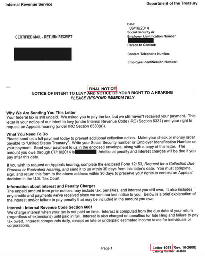 Letter 1058 Final Notice Intent To Levy