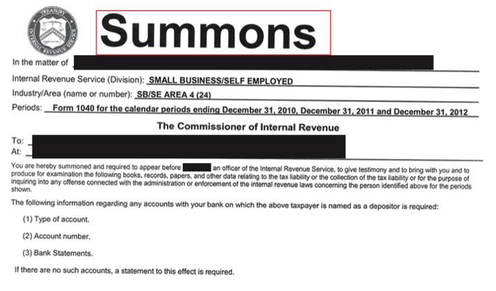 Form 2039 Summons Alana Tax Group Tax Lawyer